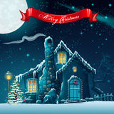 Christmas tree and fairy house. Greeting card with a Christmas tree and fairy house Stock Image