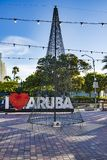 Christmas tree from fairy lights, I love Aruba advertising Stock Image