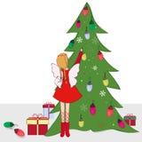 Christmas tree with fairy vector Stock Photos