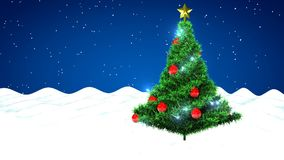 Christmas tree and falling snow stock video footage