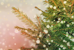 Christmas tree and falling snow retro style background Royalty Free Stock Images