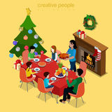 Christmas tree family dinner holidays flat isometric vector 3d. Merry Christmas Happy New Year flat 3d isometry isometric concept web infographics vector leaflet Stock Photography