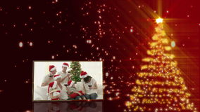 Christmas tree and familys animation Royalty Free Stock Photo