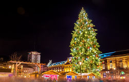 Christmas tree at a famous Christmas Market in Strasbourg. 2015 Royalty Free Stock Image