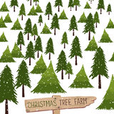 Christmas tree farm vector illustration. Christmas tree farm. Vector illustration. Christmas Trees for sale stock illustration