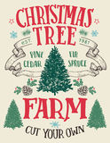Christmas tree farm vintage sign. Christmas tree farm, cut your own. Hand-lettering vintage sign with hand-drawn christmas trees royalty free illustration