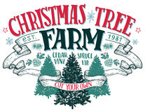 Christmas tree farm vintage sign. Christmas tree farm, cut your own. Hand-lettering vintage sign with hand-drawn christmas trees on white background stock illustration