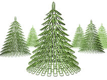 Christmas tree fastener. The green Christmas tree maiden with office fastener Royalty Free Stock Photo