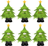 Christmas tree with feature a different expression Royalty Free Stock Images