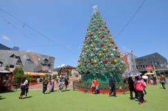 Christmas tree Federation Square cityscape Melbourne Australia. People visit Federation Square in Melbourne Australia stock image