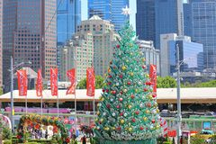 Christmas tree Federation Square cityscape Melbourne Australia royalty free stock images
