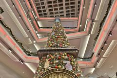 Christmas tree in Festival Walk mall at 2017. Christmas tree in Festival Walk mall in Kowloon Tong Royalty Free Stock Image