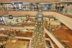 Christmas tree in Festival Walk mall at 2017. Christmas tree in Festival Walk mall in Kowloon Tong Stock Image