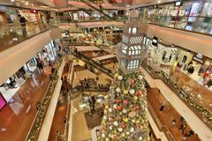Christmas tree in Festival Walk mall at 2017. Christmas tree in Festival Walk mall in Kowloon Tong Stock Photo