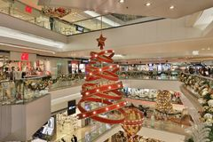 Christmas tree in Festival Walk mall at 2017. Christmas tree in Festival Walk mall in Kowloon Tong Stock Images