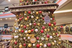 Christmas tree in Festival Walk mall in Kowloon Tong 2018. Christmas tree in Festival Walk mall in Kowloon Tong on Royalty Free Stock Image