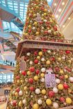 Christmas tree in Festival Walk mall in Kowloon Tong 2018. Christmas tree in Festival Walk mall in Kowloon Tong on Royalty Free Stock Images