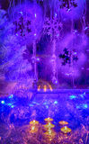 Christmas tree, festive candles, wallpaper. Royalty Free Stock Image