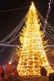 Christmas tree and festive fair stock image