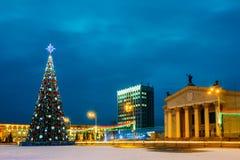 Christmas Tree And Festive Illumination On Lenin Stock Photo