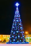 Christmas Tree And Festive Illumination On Lenin. Main Christmas Tree And Festive Illumination On Lenin Square In Gomel. New Year In Belarus stock image