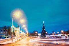 Christmas Tree And Festive Illumination On Lenin Square In Gomel. Gomel, Belarus. Main Christmas Tree And Festive Illumination On Lenin Square In Gomel. New Year royalty free stock photography