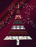 Christmas Tree. A festive Christmas tree made of holiday patterns and plaids stock illustration