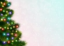 Christmas Tree Festive Poster. Festive poster with christmas tree decorated with garland of colorful electric lights realistic vector Illustration Royalty Free Stock Image