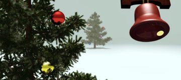 Christmas tree festive scene. Illustration of decorated Christmas tree with bell decoration in foreground, festive scene Stock Photography