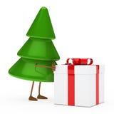 Christmas tree figure. Christmas tree green push red gift box Royalty Free Stock Photos