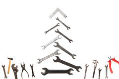 Free Christmas Tree Figure Made Of Old Rusty Wrench Isolated On White Stock Image - 133697861