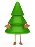 Christmas tree figure thumbs up. Green christmas tree figure take thumbs up Royalty Free Stock Photos