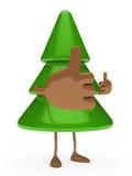 Christmas tree figure thumbs up. Green christmas tree figure take thumbs up Royalty Free Stock Photo