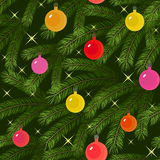 Christmas tree fir branch decorated seamless. Christmas tree fir branch decorated with balloons seamless Stock Photography
