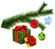 Christmas tree fir branch with gifts Stock Images