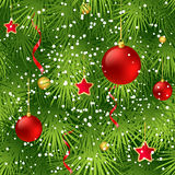 Christmas tree fir branch seamless background. Vector illustration EPS 10 Stock Photo