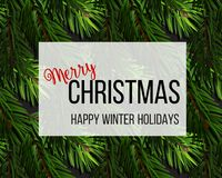 Christmas tree fir branches background. Vector Merry Christmas happy winter holidays. Greeting card.  Stock Images