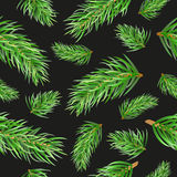 Christmas Tree Fir Branches Seamless Pattern. Vector Background Stock Photos