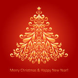 Christmas tree. Christmas fir tree composed of gold elements royalty free illustration