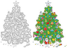Christmas tree. Fir tree decorated for Christmas, color and black-and-white vector illustrations on a white background Stock Photos