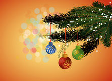 Christmas tree fir leaves with ornaments Stock Photo