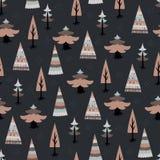 Christmas tree fir seamless pattern. Dark decorative christmas tree fir seamless pattern Stock Photography