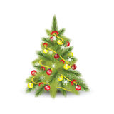 Christmas tree with fir. Snowflakes and colorful christmas balls isolated on white,flat design vector illustration Royalty Free Stock Image