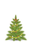 Christmas tree with fir. Tree with fir, snowflakes and colorful  balls isolated on white,flat design vector illustration Stock Photography