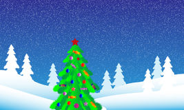 Christmas tree in fir tree forest. Winter landscape. Christmas tree in fir tree forest Stock Photography