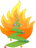Christmas tree on fire illustration design. On white Royalty Free Stock Photos