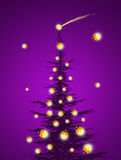 Christmas tree with fireflies. Illustration of Christmas tree with fireflies Royalty Free Stock Image