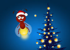 Christmas tree with fireflies. Illustration of Christmas tree with fireflies Royalty Free Stock Photo