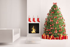Christmas tree and fireplace 3d. Christmas fir tree in the modern room with fireplace interior 3d render Stock Images