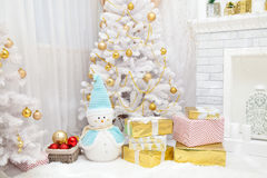 Christmas tree and fireplace background. Stock Photography